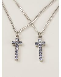 DSquared² - Metallic Double Crucifix Neckalce for Men - Lyst