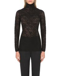 Stella McCartney | Black Turtleneck Floral-lace Top - For Women | Lyst