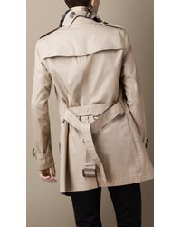 Burberry - Natural Mid-Length Cotton Trench Coat for Men - Lyst