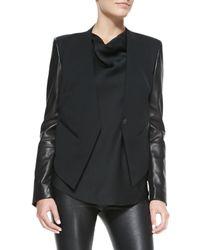 Helmut Lang - Black Leather-Sleeve Wool Tuxedo Jacket - Lyst