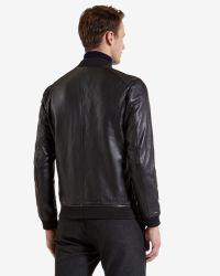 Ted Baker - Black Leather Bomber Jacket for Men - Lyst