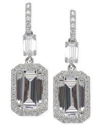 Arabella   Metallic Swarovski Zirconia Drop Earrings In Sterling Silver   Lyst