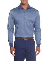 Peter Millar   Blue Long Sleeve Egyptian Cotton Lisle Polo for Men   Lyst