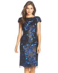 Vera Wang Black Sequin Embellished Sheath Dress