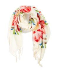 La Fiorentina - Pink Floral Wool Scarf - Coral - Lyst