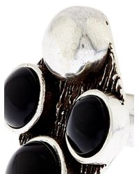 Saint Laurent | Metallic Patti Quadri Silver And Onyx Ring | Lyst