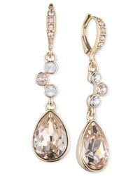Givenchy - Metallic Gold-tone Silk Double Drop Earrings - Lyst