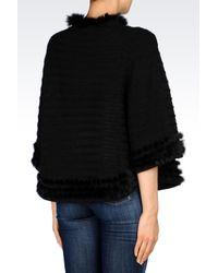 Armani Jeans | Black Poncho With Rabbit Fur Trim | Lyst