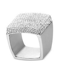 Michael Kors - Metallic Silvertone Crystal Square Ring - Lyst