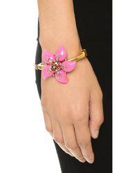 Oscar de la Renta - Metallic Resin Flower Bracelet - Pink - Lyst
