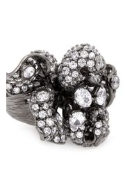 Anabela Chan | 'mini Bloomingdale' Diamond Pavé 18k Black Gold Flower Ring | Lyst