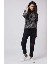 TOPSHOP | Multicolor Fluffy Leopard Print Sweatshirt | Lyst