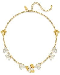 kate spade new york | Metallic Gold-tone And White Pansy Blossom Necklace | Lyst