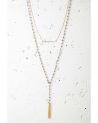 Forever 21 | Metallic Beaded Tassel Necklace Set | Lyst
