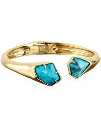 Alexis Bittar - Blue Asymmetrical Break Hinge W/ Fancy Cut Howlite Turquoise Bracelet - Lyst