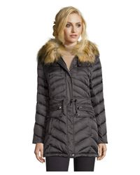 Laundry by Shelli Segal - Gray Slate Grey Chevron Quilted Faux Fur Hooded Down Jacket - Lyst