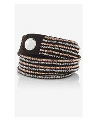 Express | Black Faux Suede Rhinestud Double Wrap Bracelet | Lyst
