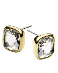Michael Kors | Metallic Goldtone And Clear Stone Stud Earrings | Lyst