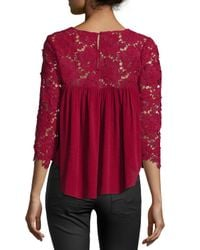 Lovers + Friends - Red Dreamland 3/4-sleeve Top - Lyst