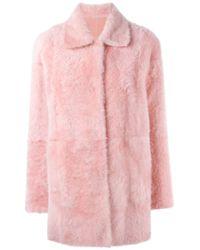 DROMe | Pink Reversible Shearling Coat | Lyst
