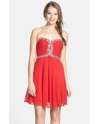 Faviana - Red Embellished Chiffon Fit & Flare Dress - Lyst