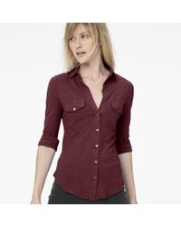 James Perse - Brown Sheer Slub Side Panel Shirt - Lyst