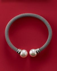 Majorica - Metallic White Pearl-cap Bangle - Lyst