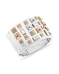 Michael Kors - Metallic Tritone Pyramid Stud Wide Cuff Bracelet - Lyst