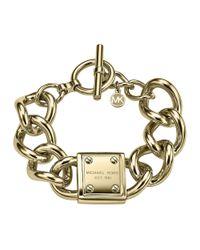 Michael Kors | Metallic Logo-Plaque Link Bracelet | Lyst