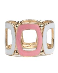 Mikey - Pink Square Link Bracelet - Lyst