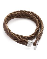 Tommy Hilfiger - Brown Leather Bracelet for Men - Lyst