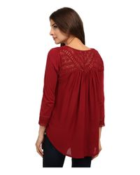 Lucky Brand | Red Chevron Lace Top | Lyst