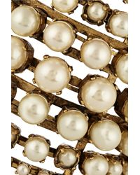 Erickson Beamon | Metallic Stratosphere Gold-Plated Faux Pearl Cuff | Lyst