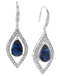 Carolee | Blue Silver-tone Crystal Teardrop Earrings | Lyst