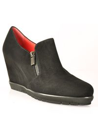 Pas De Rouge - Black Suede Wedge - Lyst