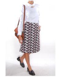Jil Sander Navy - White Gonna Printed A-line Skirt - Lyst