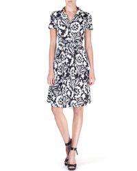 Etro - Black Short-sleeve Floral-print Wrap-front Dress - Lyst