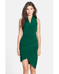 Nicole Miller | Green Asymmetrical Crepe Faux Wrap Dress | Lyst