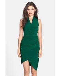 Nicole Miller - Green Asymmetrical Crepe Faux Wrap Dress - Lyst