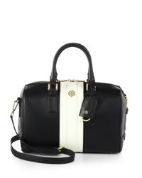 Tory Burch | Black Robinson Striped Middy Satchel | Lyst