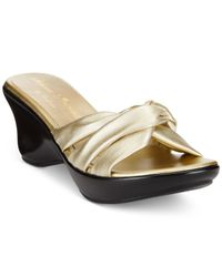 Callisto | Metallic Gaylenn Platform Wedge Sandals | Lyst