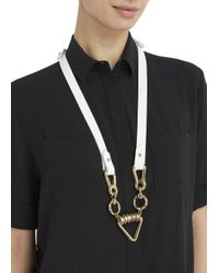 Moxham - Arrow White Leather And Gold Plated Chain Necklace - Lyst