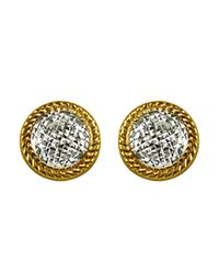 Lord & Taylor | Metallic 14k Two Toned Gold Textured Disc Earrings | Lyst