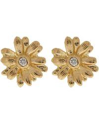 Alex Monroe - Metallic 18ct Gold Diamond Set Teeny Tiny Daisy Stud Earrings - Lyst