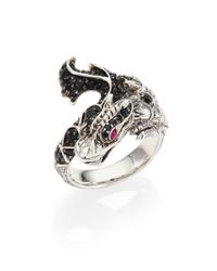 John Hardy | Metallic Naga Black Sapphire, Ruby & Sterling Silver Dragon Ring | Lyst