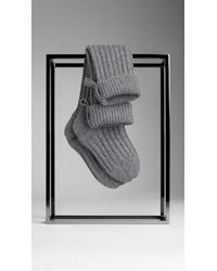 Burberry | Gray Cashmere Ribbed Knit Socks with Pouch | Lyst