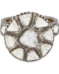 Munnu | Metallic Diamond Flower Ring | Lyst
