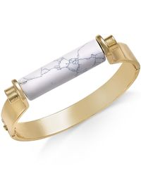 INC International Concepts - White Gold-tone Marble Stone Print Hinge Bracelet - Lyst