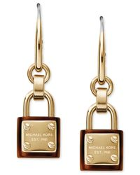 Michael Kors | Metallic Goldtone Tortoise Accent Logo Padlock Earrings | Lyst