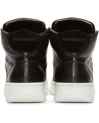 Burberry - Black Leather High-top Walbrook Sneakers for Men - Lyst